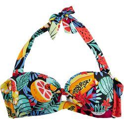 Caribbean Joe Womens Tropical Halter Bandeau Bikini Top