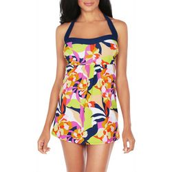 Caribbean Joe Womens Abstract Floral Halter Swimdress