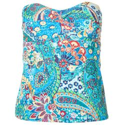 Chaps Womens Paisley Slimming Bandeau Tankini Top