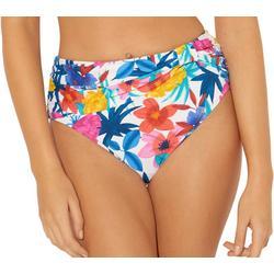 Womens Floral High Waisted Bikini Bottoms