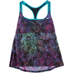 Nike Womens Essential Neon Leaf Racerback Tankini Swim Top