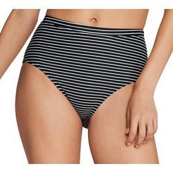 Womens High Waist Stripe Swim Bottoms