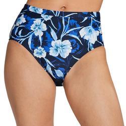 Womens High Waist Floral Swim Bottoms