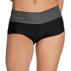 Womens Striped Band Boyshort Swim Bottoms