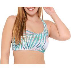 Aqua Couture Womens Palm Scoop Neck Bikini Top