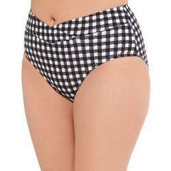 Aqua Couture Womens Checkers Ribbed Swim Bottom