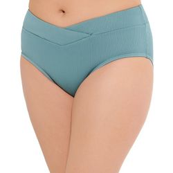 Aqua Couture Womens Solid Ribbed Swim Bottoms