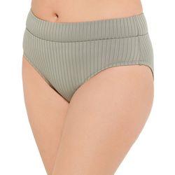 Aqua Couture Womens Ribbed High Waist Bikini Bottom