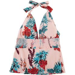 Womens Floral Smocked Halter Tankini Top