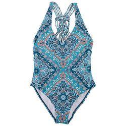 Jantzen Womens Scarf Print Crochet Back One Piece Swimsuit