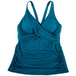 Jantzen Solid Shirred Twist Front Tankini Top