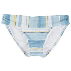 Womens Striped Foldover Swim Bottom