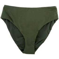 Womens Solid High Waist Retro Bikini Bottoms
