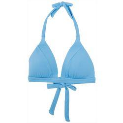 Becca Womens Lara Ribbed Banded Halter Swim Top