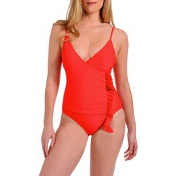 Rachel Roy Womens Cascading Ruffle One Piece Swimsuit