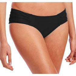 Womens Solid Shirred Tab Bikini Bottoms