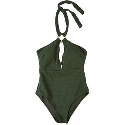Womens Plunge Textured Knit One Piece Swimsuit