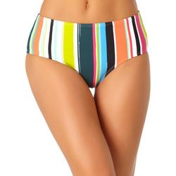Womens Mid-Rise Striped Swim Bottoms