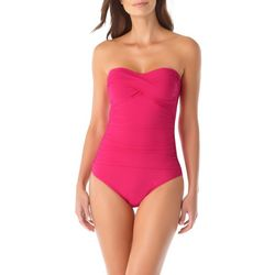 Anne Cole Signature Womens Solid Bandeau One Piece Swimsuit