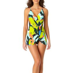 Anne Cole Signature Womens Peplum Swimdress