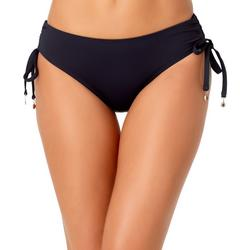 Womens Solid Ruched Side Bikini Bottoms