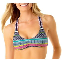 Cole of California Womens Crochet Stripe Bralette Swim Top