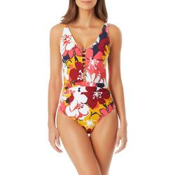 Anne Cole Signature Womens Floral Plunge Tanksuit One Piece