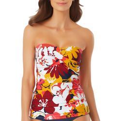 Womens Bold Floral Bandeau Tankini