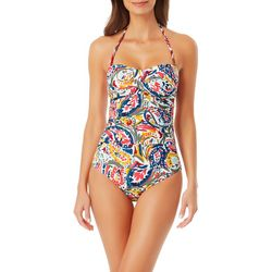 Anne Cole Womens Paisley Twist Bandeau One Piece Swimsuit