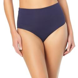 Womens Solid  Mid-Rise Brief Swim Bottom