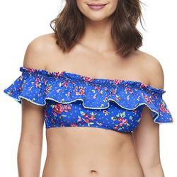 Vera Bradley Womens Floral Flounce Bikini Top