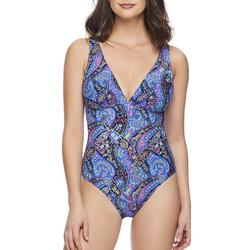 Womens Paisley Reversible One Peice Swimsuit