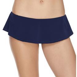 Womens Solid Skirted Swim Bottoms