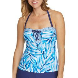 Beach Diva Painted Palm Lace Detail Tankini Top