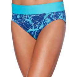 Womens Marble Abstraction Drawcord Swim Brief