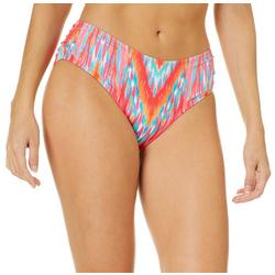 Womens Ikat Print Shirred Side Swim Bottoms