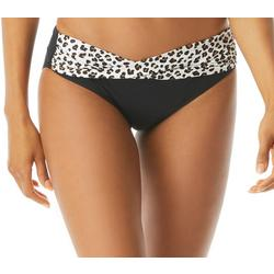 Womens Leopard Fold Over Shirred Side Swim Bottoms