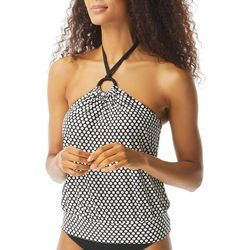 Coco Reef Womens Perfection Fit Dotted Blouson Tankini Top