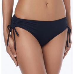 Womens Solid Side Scrunch Tie Swim Bottoms
