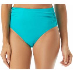 Womens Solid High Waist Shirred Side Swim Bottoms