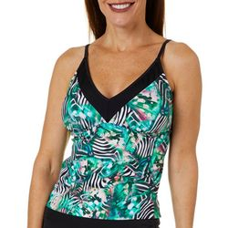 Womens V-Neck Printed Tankini Top
