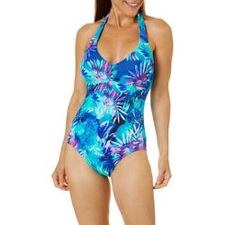 Womens Tropical Palm  One Piece Halter Swimsuit