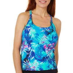 Reel Legends Womens Tropical Leaves Tankini Top