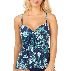 Leilani Womens Floral Tie Detail Tankini Top