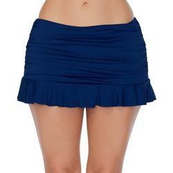 Leilani Womens Skirtini Solid Ruffled Trim Swim Skirt