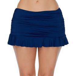 Womens Skirtini Solid Ruffled Trim Swim Skirt
