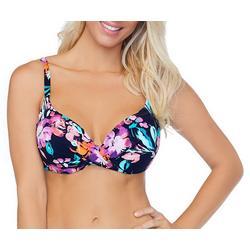 Womens Floral Twist Front Bikini Top