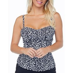 Leilani Womens Leopard Print Twist Front Bandini Top