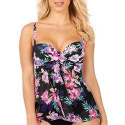 Leilani Womens Tropical Floral Bandini Flyaway Tankini Top