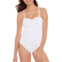 Beach Native Womens Solid Bandeau Bust Enhancing Swimsuit